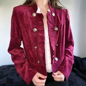 Roz & Ali Double Breasted Wine Velvet Jacket